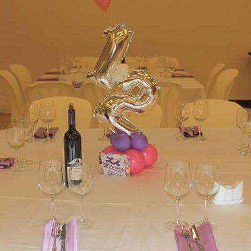 בלונים בצורת 12 על השולחן לבת מצווה