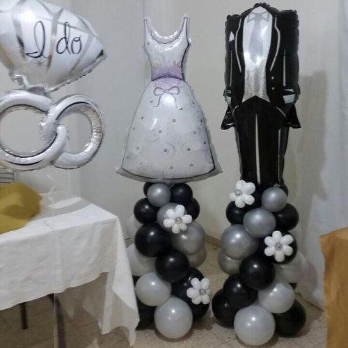 בלונים לחתונה בצורת חליפת חתן ושמלת כלה