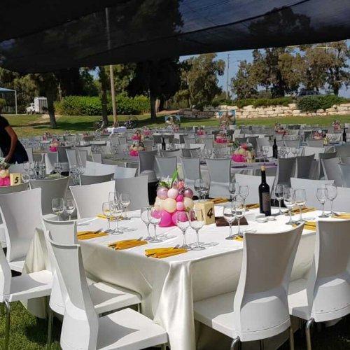 סידורי בלונים על שולחנות בחתונה